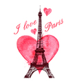 Red watercolor heart and Eiffel Tower vector image vector image