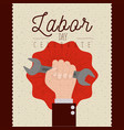 colorful poster of labor day celebrate with vector image