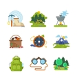Flat camping outdoor icons vector image