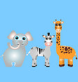 happy cartoons animals - giraffe elephant a zebra vector image