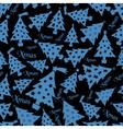 set of christmas dark blue tree decoration vector image