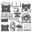 vintage writer elements set vector image