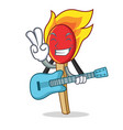 with guitar match stick mascot cartoon vector image