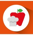 cheerful chef fresh apple graphic vector image