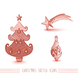 Merry Christmas red sketch style tree elements set vector image vector image
