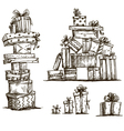 Piles of presents Doodle heaps of gift boxes vector image