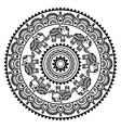 Round Mehndi Indian Henna tattoo pattern vector image