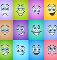 Different emotions on colored background vector image vector image