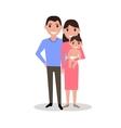 Cartoon dear happy family parents and newborn baby vector image