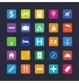 Flat travel icon set vector image