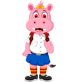 funny female hippo cartoon going to school vector image