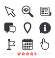 mouse cursor icon hand or flag pointer symbols vector image