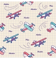 Pattern airplanes in vintage style vector image