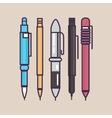 pen ballpoint pencil set outline thin vector image