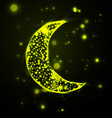 Shiny crescent moon on green background vector image