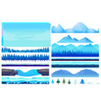 cartoon winter game nature elements set vector image