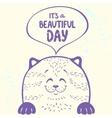 Cute cat silhouette vector image