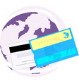 debit card with globe vector image vector image
