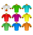 Multicolored T-shirts in a set vector image vector image