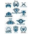 Isolated icons for racing and motorsports vector image vector image