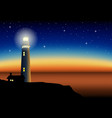 a lighthouse during sunset vector image