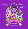 Amusement park flat concept design vector image