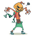 cartoon pumpkin head scarecrow vector image