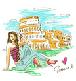 Fashion girl in Rome vector image