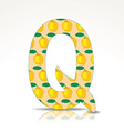 The letter Q of the alphabet made of Quince vector image