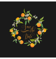 Orange and Flowers Card Fruit Background vector image vector image