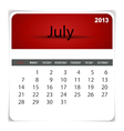 2013 calendar July vector image vector image