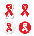 Red ribbon - AIDS HIV heart disease stroke vector image vector image