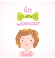 Cute cartoon woman with dumbbell vector image