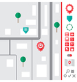 Urban map with pointer icons set vector image