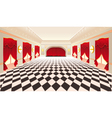 Interior with red curtains and tiled floor vector image