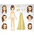 Brown Hair Set For Gold Paper Doll vector image