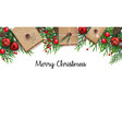 christmas background with fir branches and red bal vector image