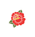 doodle icon rose flower traditional tattoo flash vector image