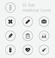 Modern flat icons collection of medical theme vector image