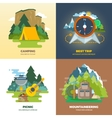 Outdoor adventure camp flat background concept set vector image
