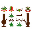 Set of cannabis leafs bongs vector image