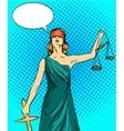 Statue god of justice Themis Femida with balance vector image