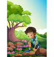 A boy watching the rocks in the forest vector image