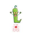 Funny cartoon green pepper character vector image