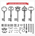 Vintage key constructor Old keys set vector image