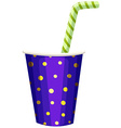 Single cup of drink with straw vector image
