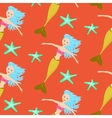 Cartoon mermaid princess coral red seamless vector image