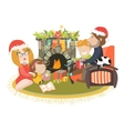 Family celebrating Christmas at fireplace vector image