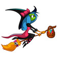 halloween cute witch flying on her broom cartoon vector image
