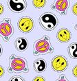 Retro 90s hand drawn stitch patch seamless pattern vector image
